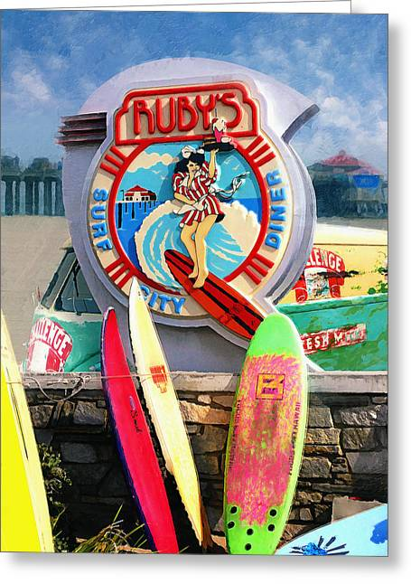 Rubys Surf City Diner Greeting Card by Ron Regalado