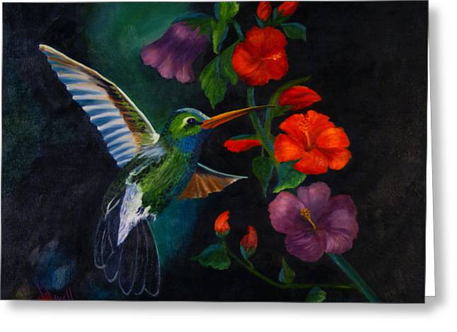 Rubythroated Humming Bird And Hibiscus Greeting Card