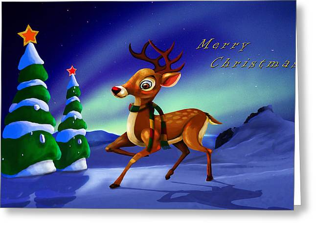 Rudolph Greeting Card by Virginia Palomeque