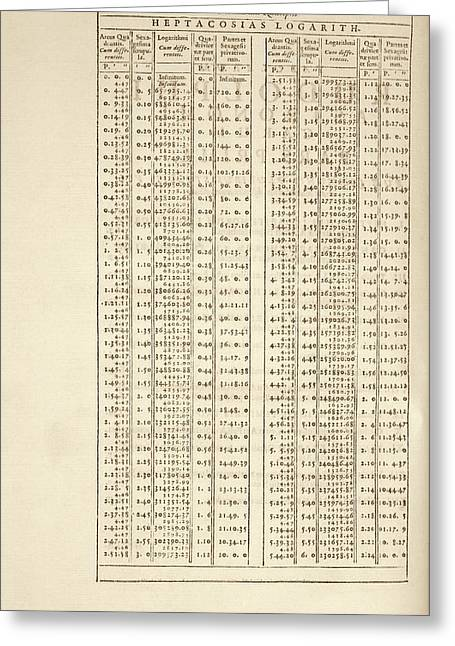 Rudolphine Tables Logarithms Greeting Card by Library Of Congress