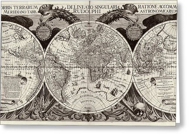 Rudolphine Tables World Map Greeting Card by Library Of Congress