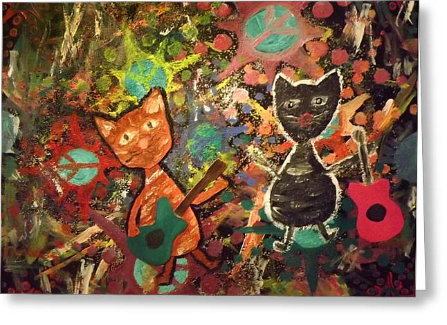 Rudy And Sketch Electric Cats Greeting Card by Yvonne  Kroupa