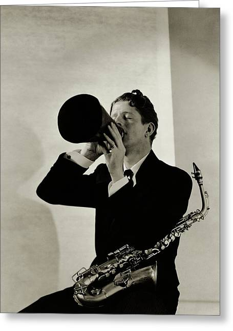 Rudy Vallee With A Saxophone Greeting Card by George Hoyningen-Huen?