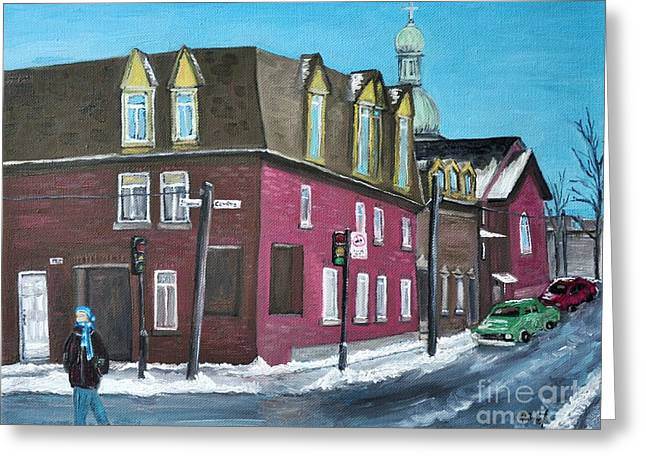 Rue Centre Pte St Charles Greeting Card by Reb Frost
