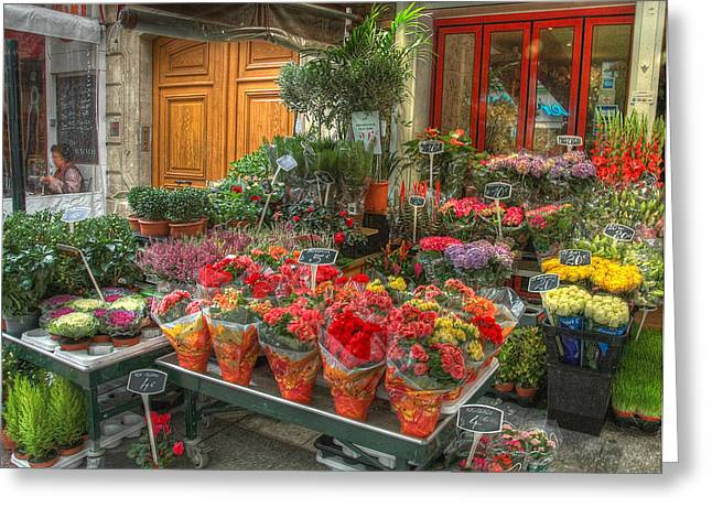 Rue Cler Flower Shop Greeting Card