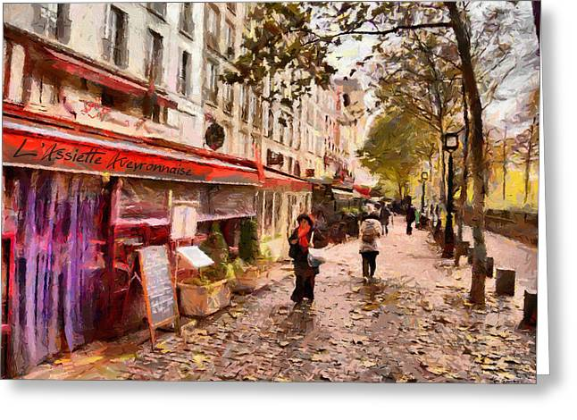 Greeting Card featuring the painting Rue Coquilliere In Paris by Kai Saarto