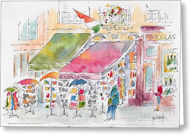 Rue De Buci Paris Greeting Card by Pat Katz