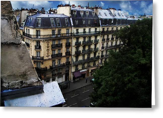 Greeting Card featuring the digital art Rue Des Ecoles In Paris France From The 6th Floor Balcony Of The Henri Iv Hotel by David Blank