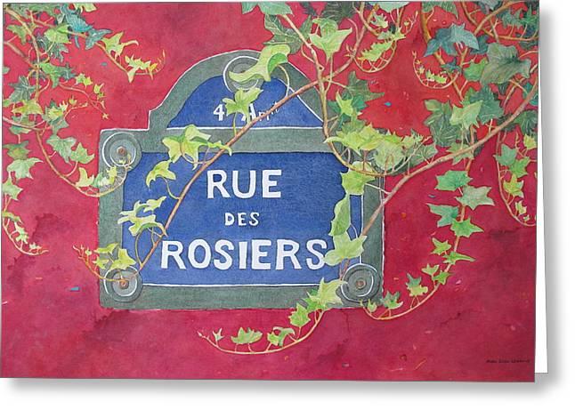 Rue Des Rosiers In Paris Greeting Card by Mary Ellen Mueller Legault