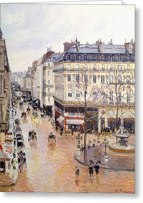 Rue Saint Honore Afternoon Rain Effect Greeting Card by Camille Pissarro