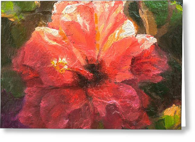 Ruffled Light Double Hibiscus Flower Greeting Card