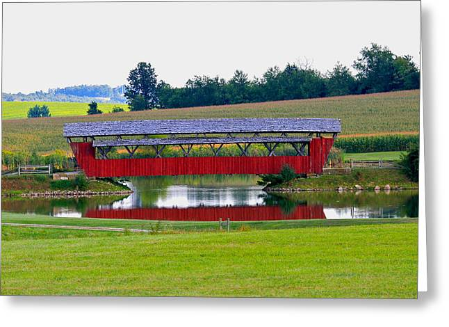 Ruffner Covered Bridge Greeting Card by Jack R Perry
