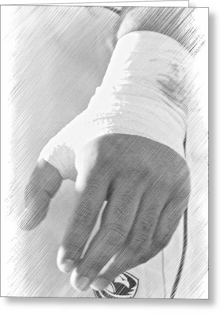 Rugby Hands Greeting Card by Evan Premer