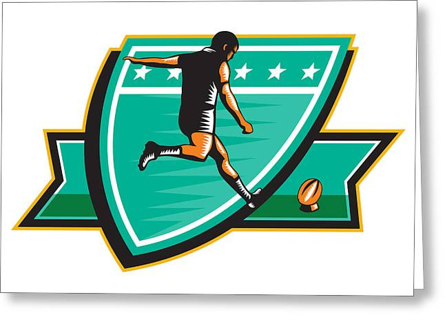 Rugby Player Kicking Ball Shield Retro Greeting Card