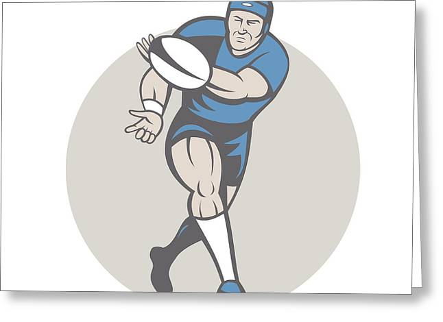 Rugby Player Running Ball Isolated Cartoon Greeting Card