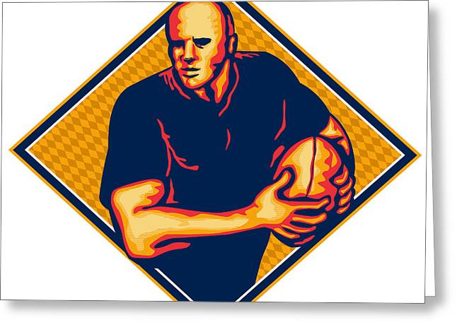 Rugby Player Running Ball Retro Greeting Card by Aloysius Patrimonio