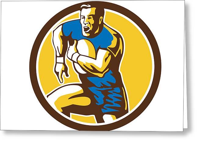 Rugby Player Running Goose Steps Circle Retro Greeting Card by Aloysius Patrimonio