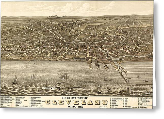 Rugers Birdseye View Of Cleveland 1877 Greeting Card by Celestial Images