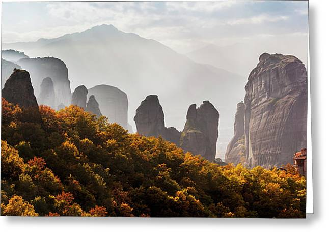 Rugged Cliffs And A Monastery  Meteora Greeting Card by Reynold Mainse