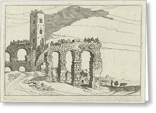 Ruin Aqueduct, Willem Van Nieulandt II Greeting Card