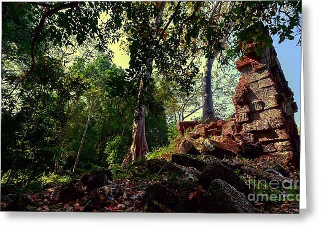 Ruin At Angkor Wat At Dawn Greeting Card by Julian Cook