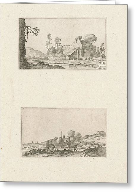 Ruin Converted To A Farmhouse And Hikers In The Dunes Greeting Card by Gillis Scheyndel I