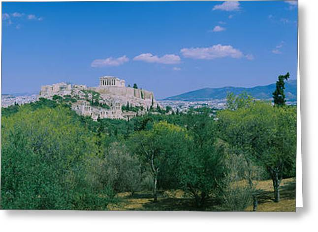 Ruined Buildings On A Hilltop Greeting Card by Panoramic Images