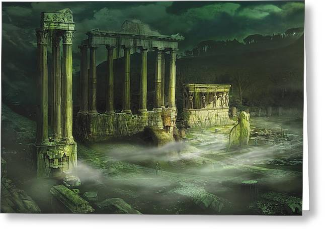Ruined Temple Greeting Card by Anthony Christou