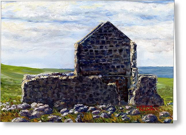 Greeting Card featuring the painting Ruins In Tasmania On The Sea Shore by Lenora  De Lude