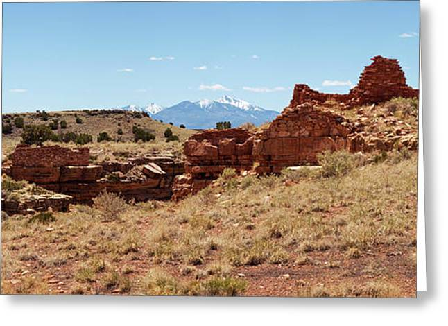 Ruins Of A Building, Lomaki Pueblo Greeting Card by Panoramic Images