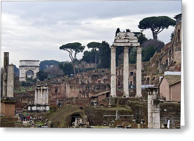 Ruins Of A Building, Roman Forum, Rome Greeting Card by Panoramic Images