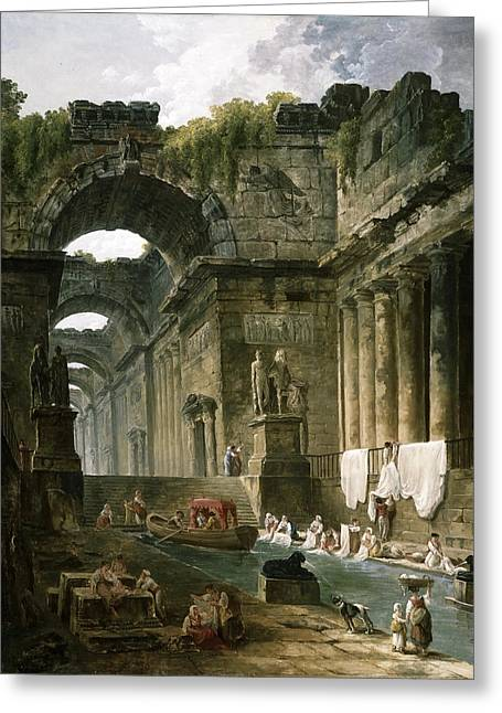 Ruins Of A Roman Bath With Washerwomen Greeting Card