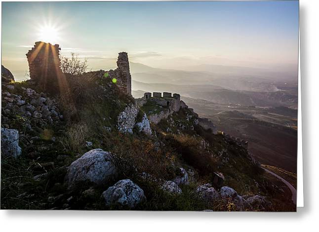 Ruins Of A Stone Building And Sunburst Greeting Card by Reynold Mainse