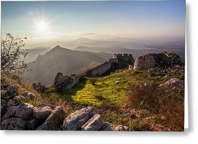 Ruins Of A Stone Wall And Buildings Greeting Card by Reynold Mainse