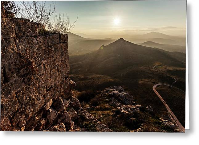 Ruins Of A Stone Wall With A Sunburst Greeting Card by Reynold Mainse