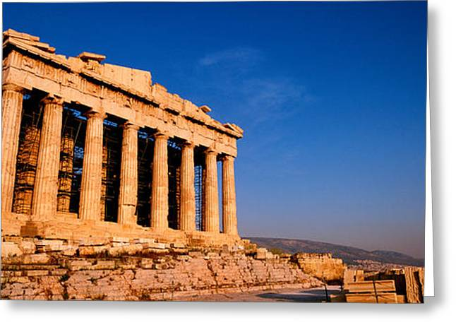 Ruins Of A Temple, Parthenon, Athens Greeting Card by Panoramic Images