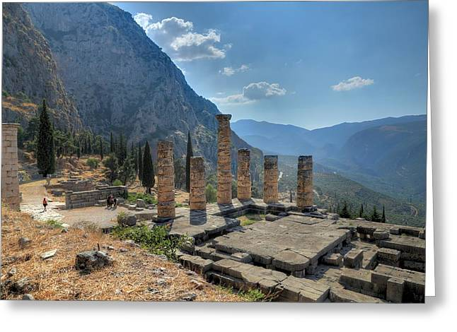 Ruins Of Apollos Temple And The Valley Of Phocis Greeting Card by Micah Goff