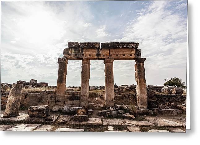 Ruins Of Columns And Lintel Greeting Card by Reynold Mainse