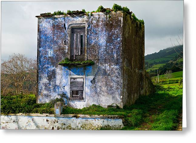 Ruins Of House Painted Blue Greeting Card