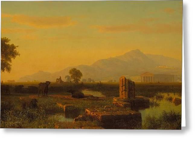 Ruins Of Paestum Greeting Card by Albert Bierstadt