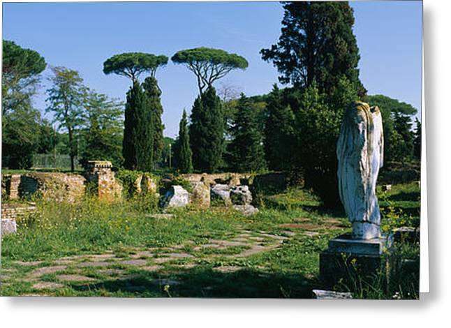 Ruins Of Statues In A Garden, Ostia Greeting Card by Panoramic Images