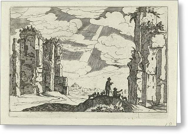 Ruins Of The Baths Of Caracalla, Willem Van Nieulandt II Greeting Card by Willem Van Nieulandt (ii) And Anonymous