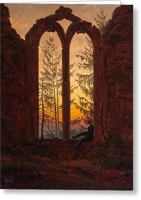 Ruins Of The Oybin Monastery The Dreamer Greeting Card by Philip Ralley