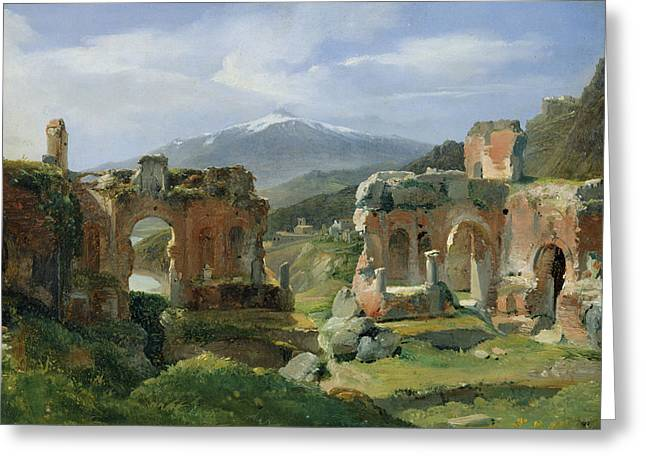 Ruins Of The Theatre At Taormina Greeting Card by Achille Etna Michallon