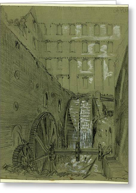 Ruins Of The Water Wheel In Gallego Flour Mills Greeting Card by Quint Lox