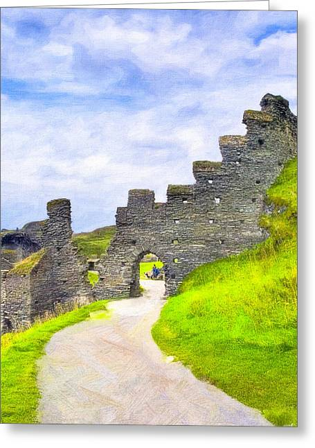 Ruins Of Tintagel Castle - Cornwall Greeting Card by Mark E Tisdale