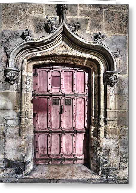 Ruins With Red Door Greeting Card by Evie Carrier