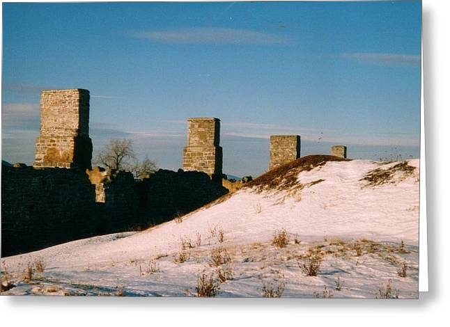 Ruins With Snow And Blue Sky Greeting Card by David Fiske