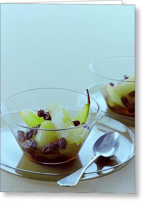 Rum Raisin Poached Pears Greeting Card