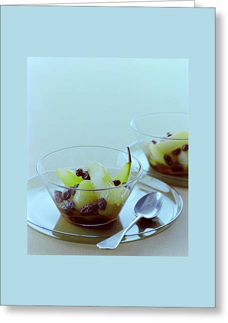 Rum Raisin Poached Pears Greeting Card by Romulo Yanes